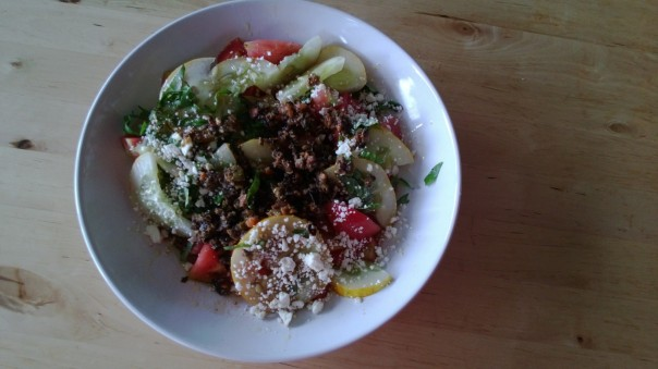 Today Greek Style salad thanks to @tinysorganic weekly delivery. Great tomatoes!